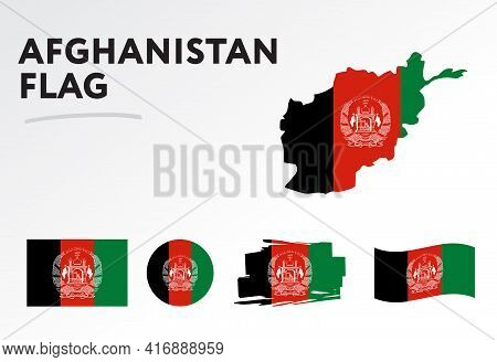 Afghanistan Map On Afghanistan Flag Vector. Circle Icon. Brush Stroke. Template For Independence Day