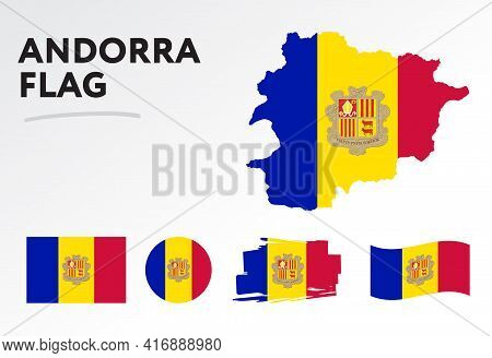 Andorra Map On Andorra Flag Vector. Circle Icon. Brush Stroke. Template For Independence Day. A Set