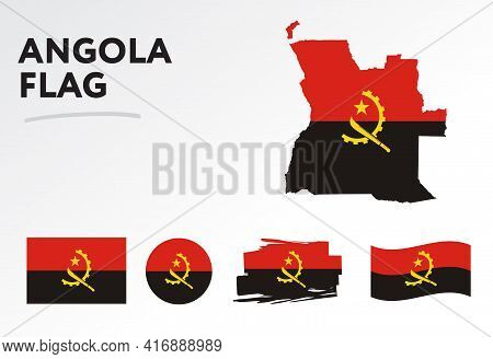 Angola Map On Angola Flag Vector. Circle Icon. Brush Stroke. Template For Independence Day. A Set Of