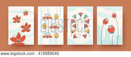 Set Of Abstract Flowering Shapes In Pastel Colors. Decorative Natural Floral Silhouettes In Retro Ba