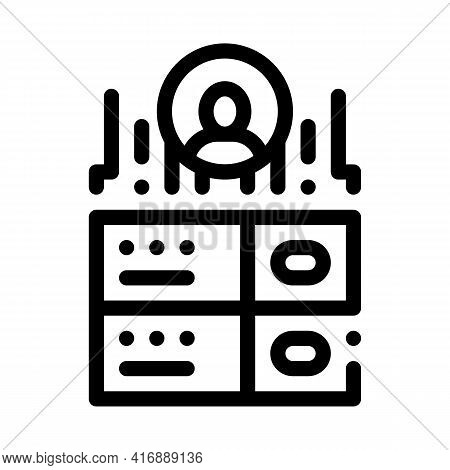 Server Storage Identity Line Icon Vector. Server Storage Identity Sign. Isolated Contour Symbol Blac
