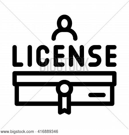 Diploma License Line Icon Vector. Diploma License Sign. Isolated Contour Symbol Black Illustration