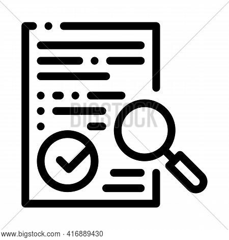 Researching And Approve License Line Icon Vector. Researching And Approve License Sign. Isolated Con