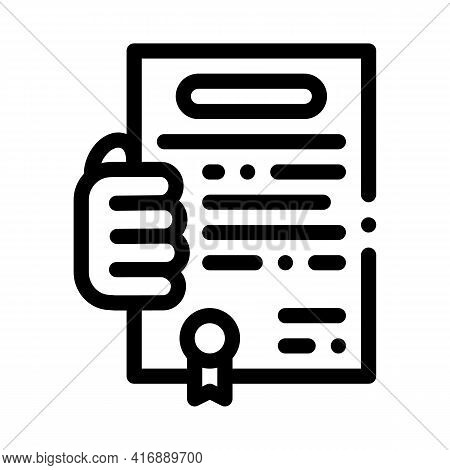 Getting License For Activity Line Icon Vector. Getting License For Activity Sign. Isolated Contour S
