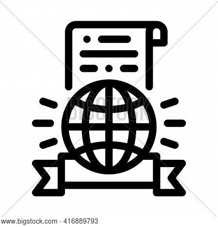 International License Line Icon Vector. International License Sign. Isolated Contour Symbol Black Il