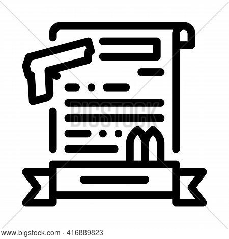 Weapon License Line Icon Vector. Weapon License Sign. Isolated Contour Symbol Black Illustration