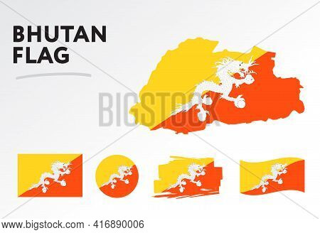 Various Designs Of The Bhutan Flag And Map. World Flags. Vector Set. Circle Icon. Brush Stroke. Temp