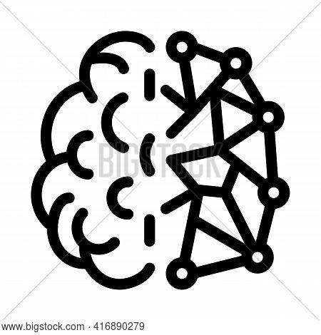 Artificial Intelligence, Ai Human And Digital Brain Line Icon Vector. Artificial Intelligence, Ai Hu
