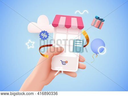 Hand Holding Mobile Smart Phone With Shopp App. Online Shopping Concept.