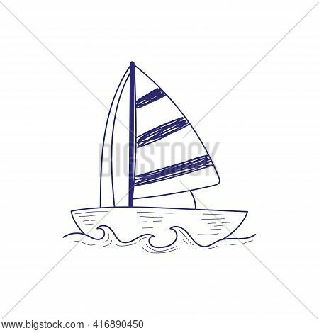 A Boat With A Sail. Vector Illustration In Hand Drawing Style. Yacht Drawn With A Ballpoint Pen.