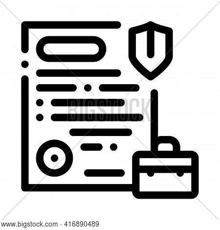 Insurance Policy Line Icon Vector. Insurance Policy Sign. Isolated Contour Symbol Black Illustration
