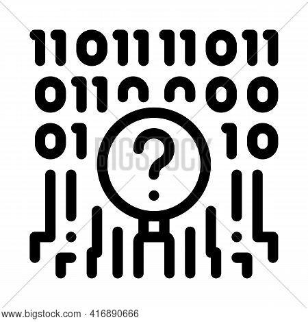 Digital Code Researcher Line Icon Vector. Digital Code Researcher Sign. Isolated Contour Symbol Blac