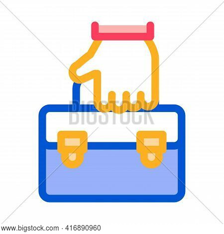 Holding Case Administrator Color Icon Vector. Holding Case Administrator Sign. Isolated Symbol Illus