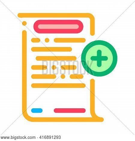 Adding Financial Document For Audit Color Icon Vector. Adding Financial Document For Audit Sign. Iso