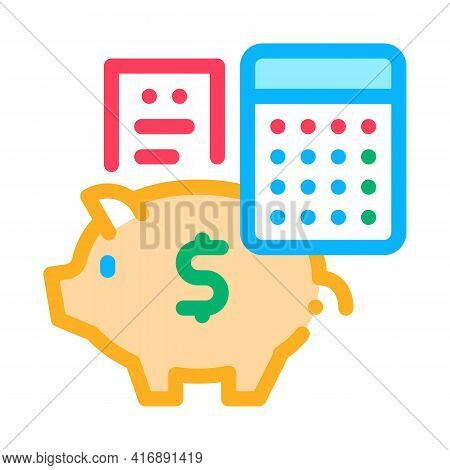 Piggy Bank Profit Calculating Audit Color Icon Vector. Piggy Bank Profit Calculating Audit Sign. Iso