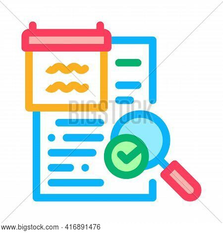 Researching And Accepting Finance Audit Color Icon Vector. Researching And Accepting Finance Audit S