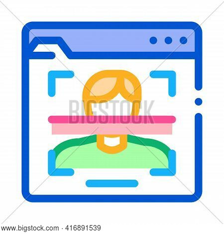 Face Scanning Identity Color Icon Vector. Face Scanning Identity Sign. Isolated Symbol Illustration