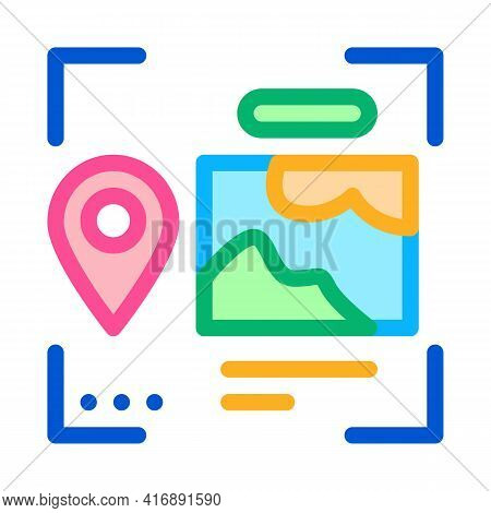 Image And Gps Location For Identity Color Icon Vector. Image And Gps Location For Identity Sign. Iso