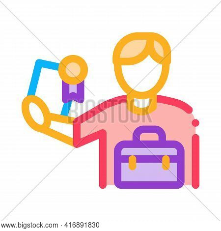 Certificate License For Work Color Icon Vector. Certificate License For Work Sign. Isolated Symbol I