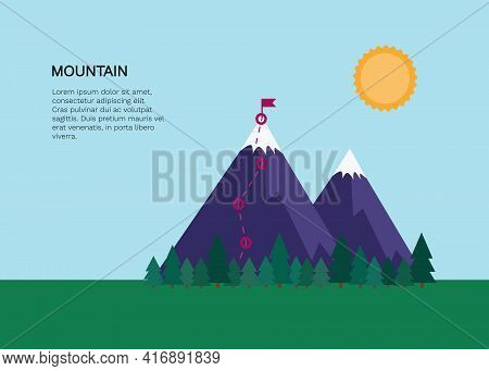 Bright Vector Banner With Mountains, Trees, Passed Route And Place For Your Text. Template For Broch