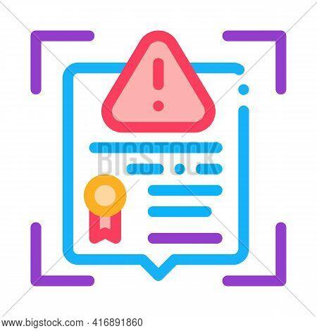 False License Color Icon Vector. False License Sign. Isolated Symbol Illustration