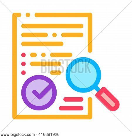 Researching And Approve License Color Icon Vector. Researching And Approve License Sign. Isolated Sy