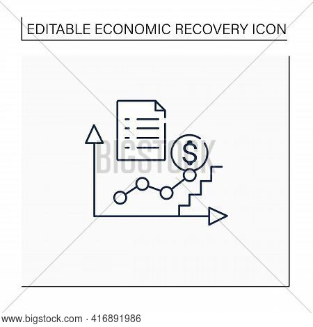 Economic Upturn Line Icon. Upswing, Growth Period.key Economic Indicators Rise Business Concept. Iso