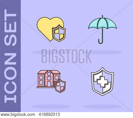 Set Life Insurance With Shield, , House And Umbrella Icon. Vector