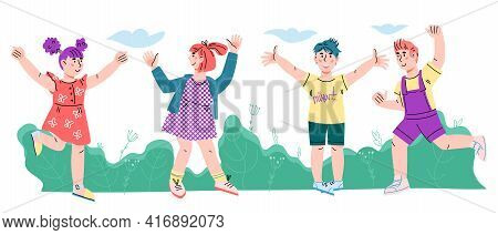 Happy Summer Children Cartoon Characters In Summer Season Clothing Smiling Having Fun, Cartoon Vecto