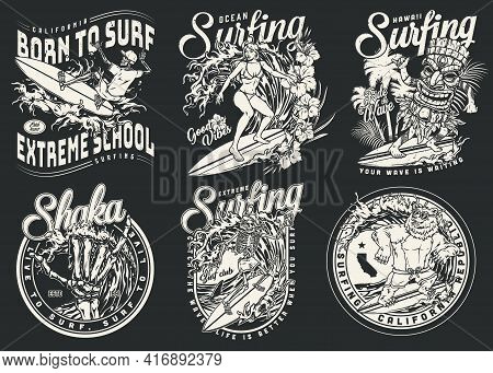Extreme Surfing Vintage Badges In Monochrome Style With Inscriptions Skeleton Hand Showing Shaka Sig