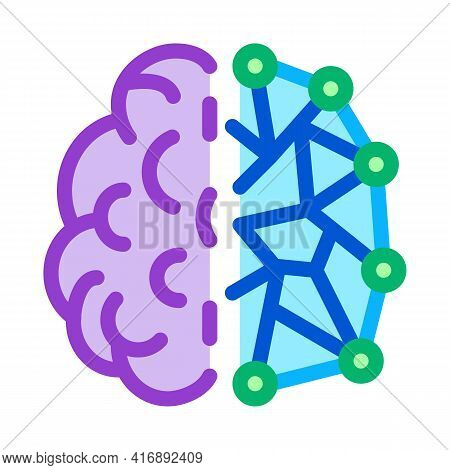 Artificial Intelligence, Ai Human And Digital Brain Color Icon Vector. Artificial Intelligence, Ai H