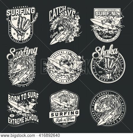 Extreme Surfing Vintage Monochrome Prints With Skeleton Surfers Riding Waves And Skeleton Hands Show