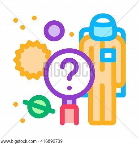 Space Researcher Color Icon Vector. Space Researcher Sign. Isolated Symbol Illustration