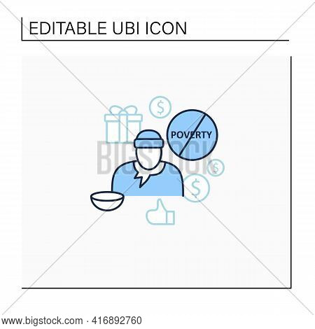 Ending Poverty Line Icon. Rise In Living Standards. Improving Living Conditions. Universal Basic Inc