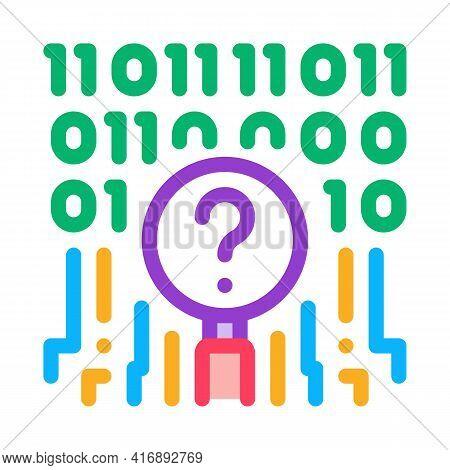 Digital Code Researcher Color Icon Vector. Digital Code Researcher Sign. Isolated Symbol Illustratio