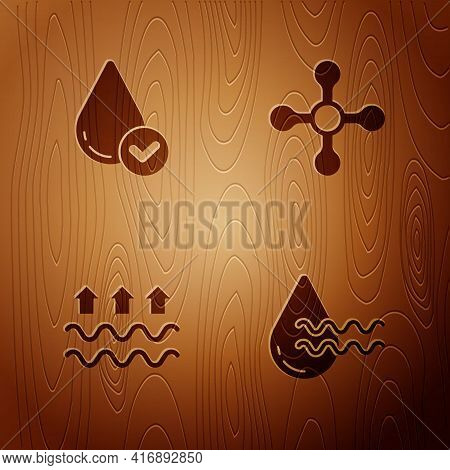 Set Recycle Clean Aqua, Water Drop, Waves Of Water And Evaporation And Tap On Wooden Background. Vec