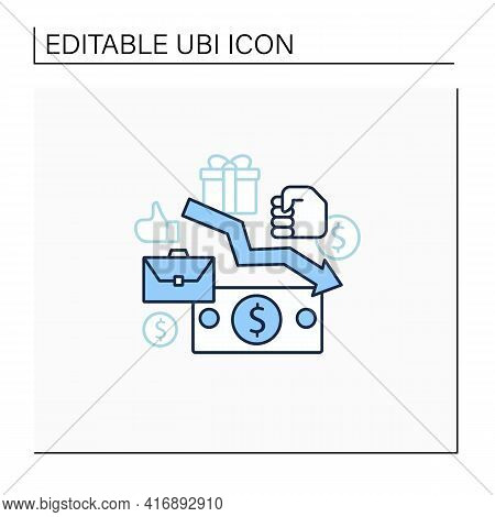 Low Wages Line Icon. Important Problem. Discouraging Low Wages. Less Money.universal Basic Income Co