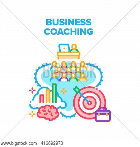 Business Coaching Trainer Vector Icon Concept. Business Coaching Trainer Training In Conference Room