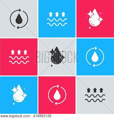 Set Recycle Clean Aqua, Waves Of Water And Evaporation And Water Drop Icon. Vector