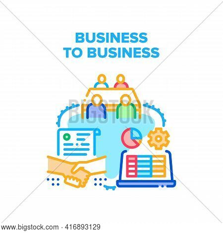 Business To Business Partner Vector Icon Concept. Business To Business Partner Meeting And Researchi