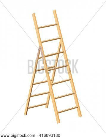 Wooden ladder household tool. Step ladder for domestic and construction needs. Isolated illustration
