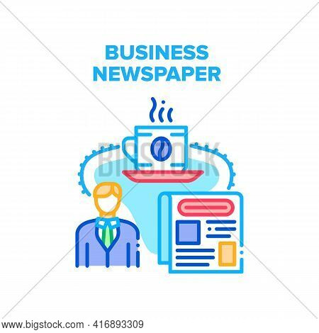 Business Newspaper Reading Vector Icon Concept. Business Newspaper Reading News Businessman And Drin