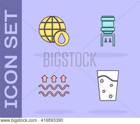Set Glass With Water, Earth Planet In Drop, Waves Of And Evaporation And Water Cooler Icon. Vector