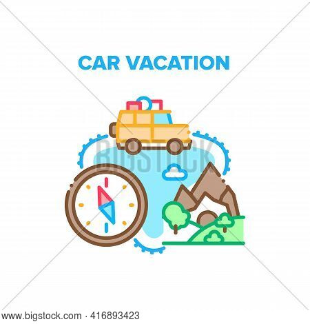 Car Vacation Vector Icon Concept. Car Vacation Adventure In Nature, Family Traveling On Vehicle To M