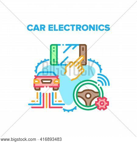 Car Electronics Vector Icon Concept. Vehicle On-board Computer With Touch Screen And Smart Steering
