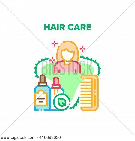 Hair Care Tool Vector Icon Concept. Comb Hair Care Tool, Shampoo And Gel For Washing Woman Head. Aro