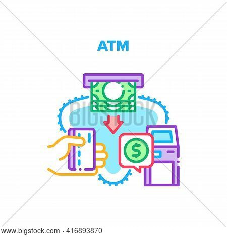 Atm Bank Machine Vector Icon Concept. Client Using Atm Bank Machine For Getting Money Cash From Cred