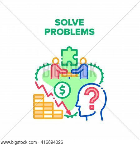 Solve Problems Vector Icon Concept. Company Business Meeting And Brainstorming For Solve Problems, D