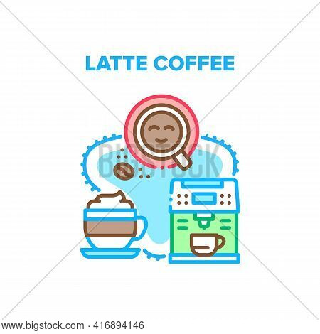 Latte Coffee Vector Icon Concept. Machine For Making Latte Coffee In Barista Cafe, Electronic Device