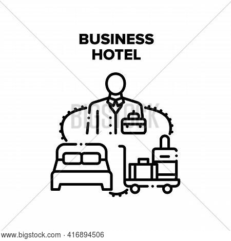 Business Hotel Vector Icon Concept. Businessman Traveling With Baggage Staying In Business Hotel At